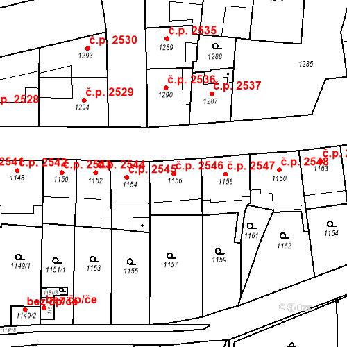 Katastrální mapa Stavební objekt Smíchov 2546, Praha