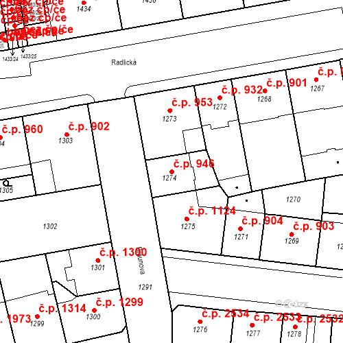 Katastrální mapa Stavební objekt Smíchov 946, Praha