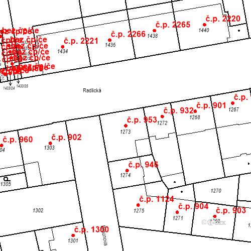 Katastrální mapa Stavební objekt Smíchov 953, Praha
