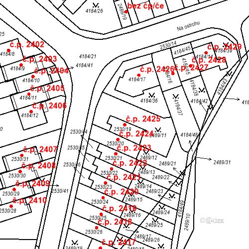 Katastrální mapa Stavební objekt Dejvice 2425, Praha