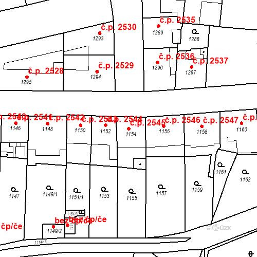 Katastrální mapa Stavební objekt Smíchov 2545, Praha