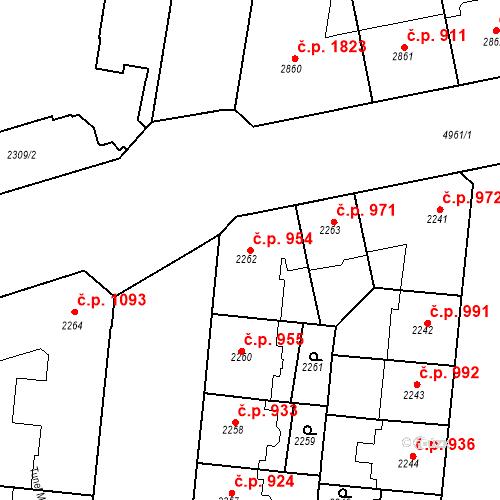 Katastrální mapa Stavební objekt Smíchov 954, Praha