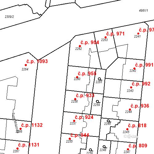Katastrální mapa Stavební objekt Smíchov 955, Praha