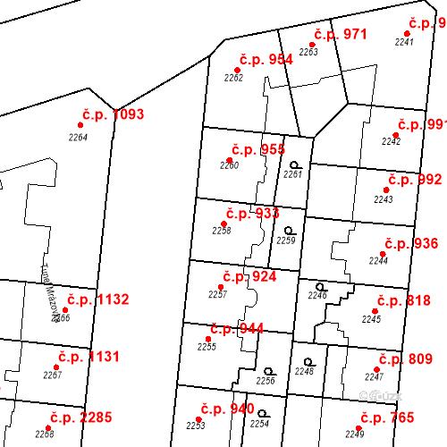 Katastrální mapa Stavební objekt Smíchov 933, Praha