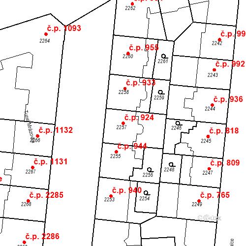 Katastrální mapa Stavební objekt Smíchov 924, Praha