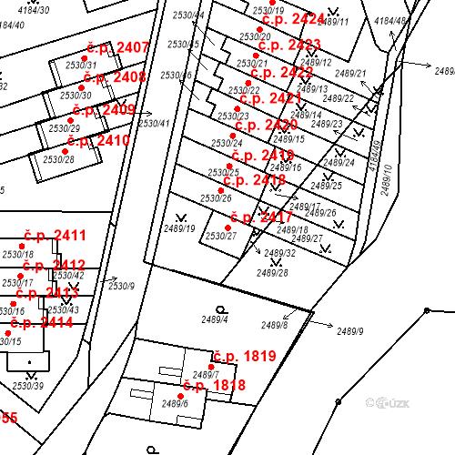 Katastrální mapa Stavební objekt Dejvice 2417, Praha