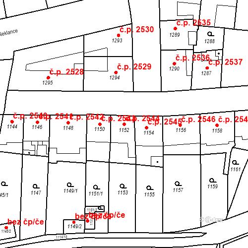 Katastrální mapa Stavební objekt Smíchov 2544, Praha