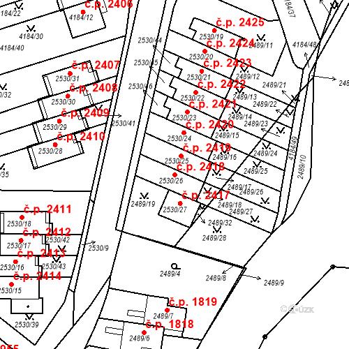 Katastrální mapa Stavební objekt Dejvice 2418, Praha