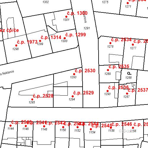 Katastrální mapa Stavební objekt Smíchov 2530, Praha