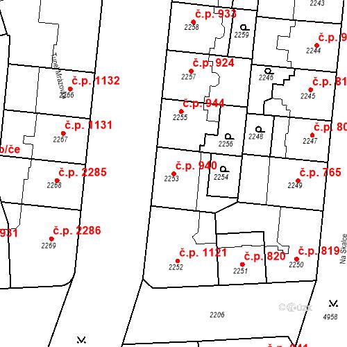 Katastrální mapa Stavební objekt Smíchov 940, Praha