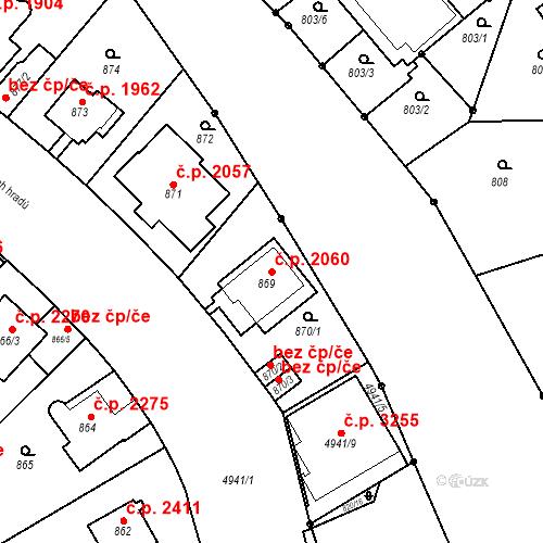 Katastrální mapa Stavební objekt Smíchov 2060, Praha