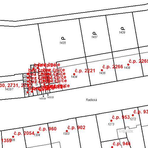 Katastrální mapa Stavební objekt Smíchov 2221, Praha