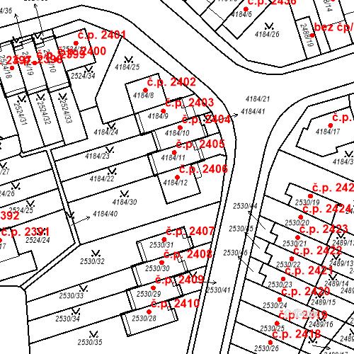 Katastrální mapa Stavební objekt Dejvice 2406, Praha