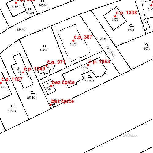 Katastrální mapa Stavební objekt Suchdol 1053, Praha