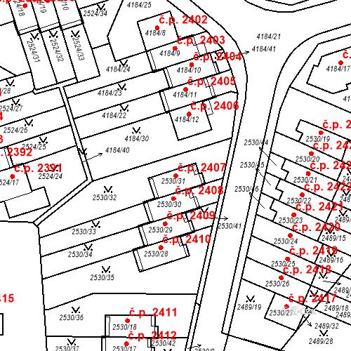 Katastrální mapa Stavební objekt Dejvice 2407, Praha