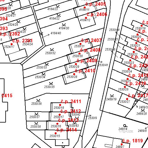 Katastrální mapa Stavební objekt Dejvice 2410, Praha