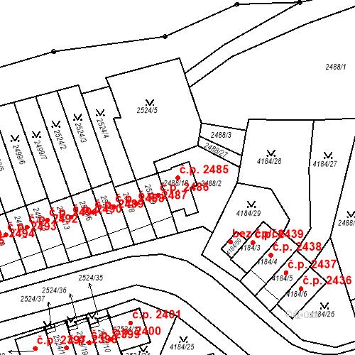 Katastrální mapa Stavební objekt Dejvice 2485, Praha