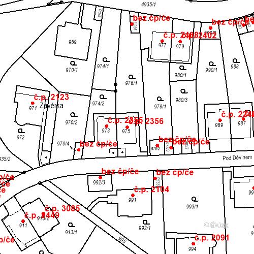 Katastrální mapa Stavební objekt Smíchov 2356, Praha
