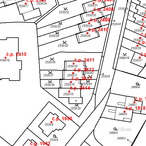 Katastrální mapa Stavební objekt Dejvice 2412, Praha