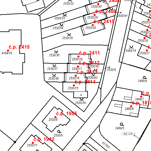 Katastrální mapa Stavební objekt Dejvice 2413, Praha