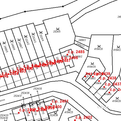 Katastrální mapa Stavební objekt Dejvice 2486, Praha