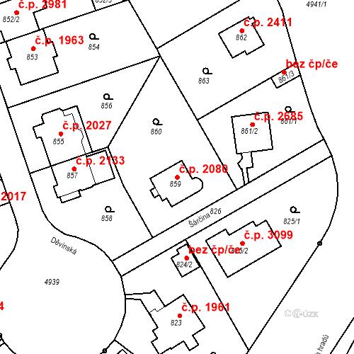 Katastrální mapa Stavební objekt Smíchov 2080, Praha