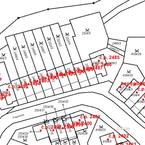 Katastrální mapa Stavební objekt Dejvice 2488, Praha