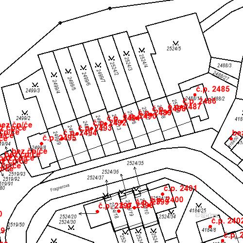 Katastrální mapa Stavební objekt Dejvice 2490, Praha
