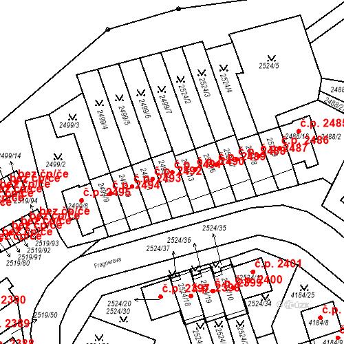 Katastrální mapa Stavební objekt Dejvice 2491, Praha