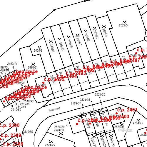 Katastrální mapa Stavební objekt Dejvice 2492, Praha