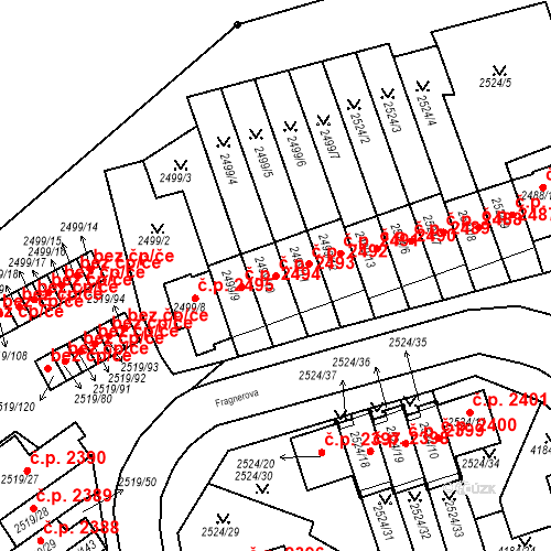 Katastrální mapa Stavební objekt Dejvice 2493, Praha