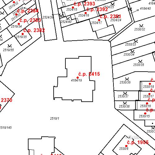 Katastrální mapa Stavební objekt Dejvice 2415, Praha