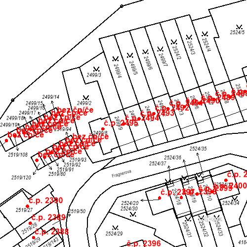 Katastrální mapa Stavební objekt Dejvice 2494, Praha