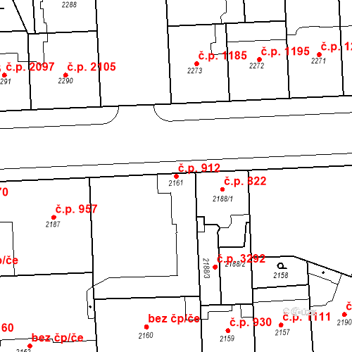 Katastrální mapa Stavební objekt Smíchov 912, Praha