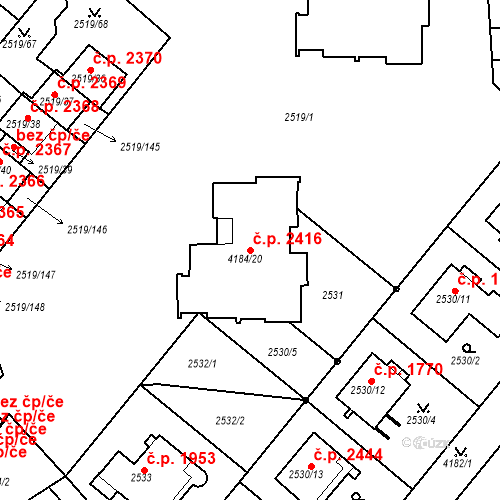 Katastrální mapa Stavební objekt Dejvice 2416, Praha
