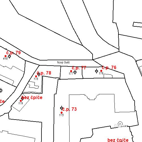 Katastrální mapa Stavební objekt Hradčany 77, Praha