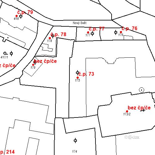 Katastrální mapa Stavební objekt Hradčany 73, Praha