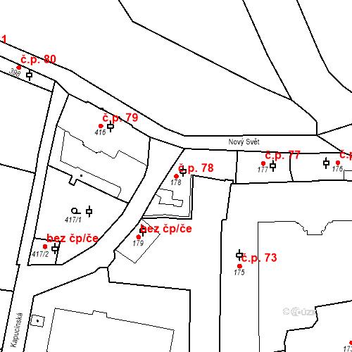 Katastrální mapa Stavební objekt Hradčany 78, Praha
