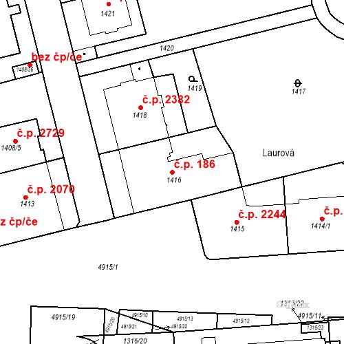 Katastrální mapa Stavební objekt Smíchov 186, Praha