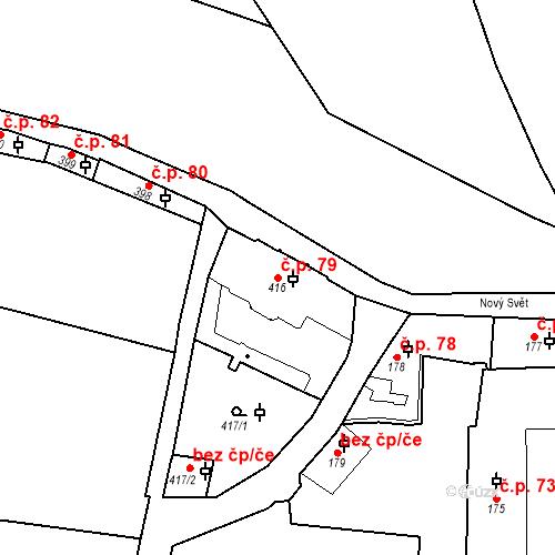 Katastrální mapa Stavební objekt Hradčany 79, Praha