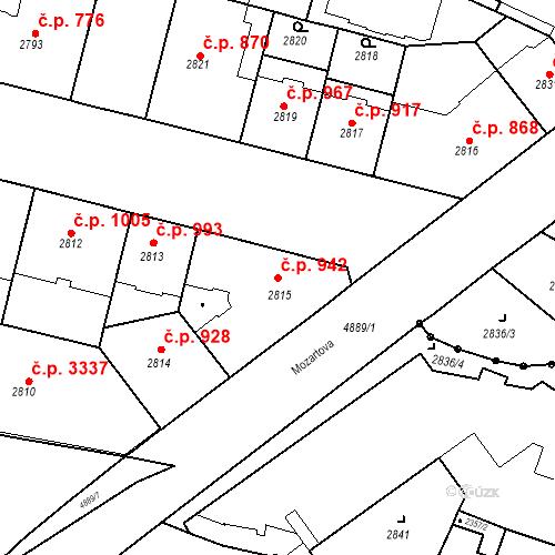 Katastrální mapa Stavební objekt Smíchov 942, Praha