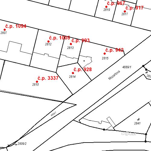 Katastrální mapa Stavební objekt Smíchov 928, Praha