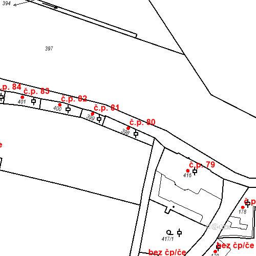 Katastrální mapa Stavební objekt Hradčany 80, Praha