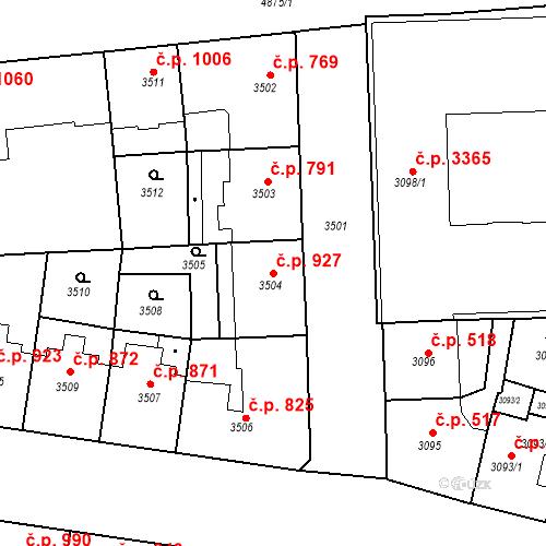 Katastrální mapa Stavební objekt Smíchov 927, Praha