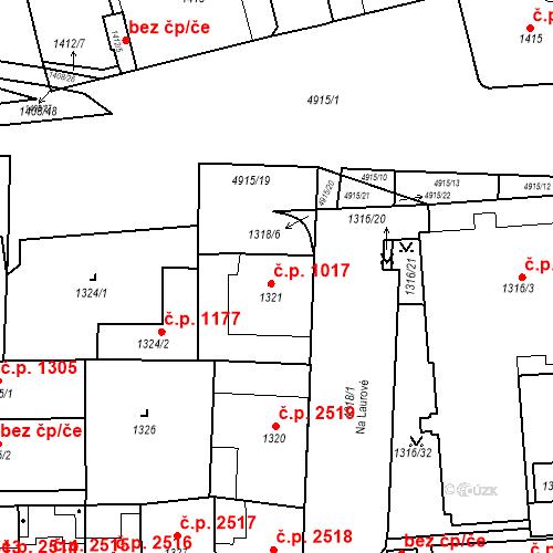 Katastrální mapa Stavební objekt Smíchov 1017, Praha