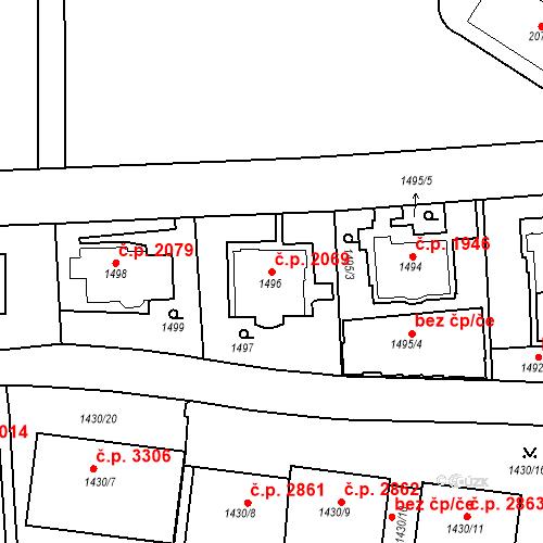Katastrální mapa Stavební objekt Smíchov 2069, Praha