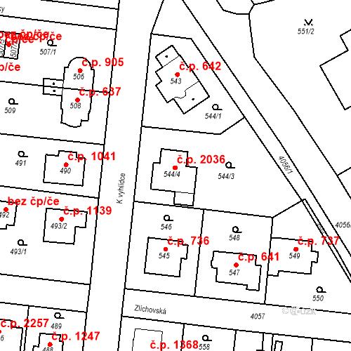 Katastrální mapa Stavební objekt Modřany 2036, Praha