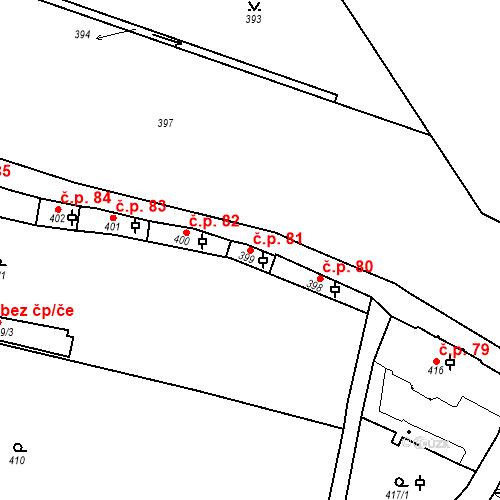 Katastrální mapa Stavební objekt Hradčany 81, Praha