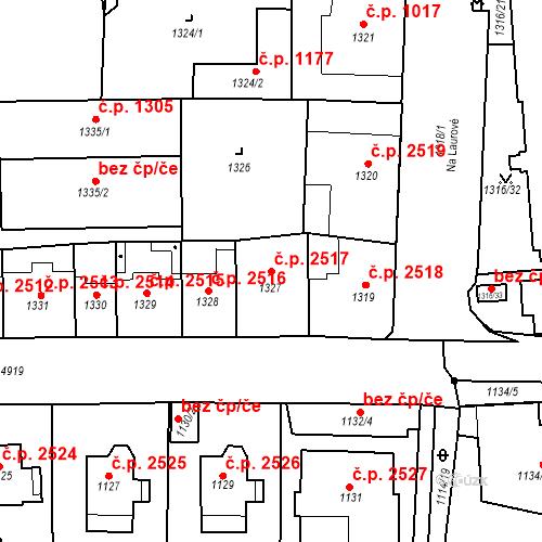 Katastrální mapa Stavební objekt Smíchov 2517, Praha