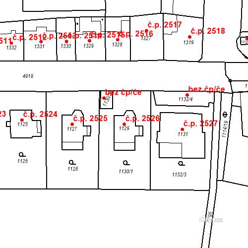 Katastrální mapa Stavební objekt Smíchov 2526, Praha